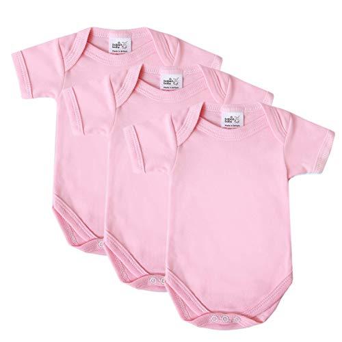 Baby Bodysuit Vests, Katoen Korte Mouwen, Brits Gemaakt voor Jongens of Meisjes, 3 Pack