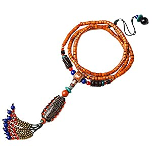 Jade Naturstein Halskette Tibetische buddhistische Dzi Perlen Anhänger Nationaler Stil Handgemacht Schmuck Für Geburtstag Jubiläum,DziBeads
