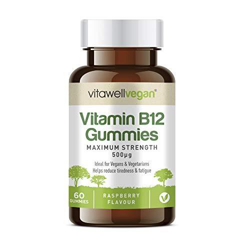 VITAWELL Vegan B12 Gummies | 60 Raspberry Flavour Gummies | Maximum Strength 500μg Helps Reduce Tiredness and Fatigue