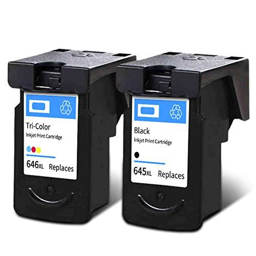Cartuchos de tinta PG645XL CL646XL, cartuchos de impresora de tinta de reemplazo de alto rendimiento para Canon MG2420 IP2820 MG2924 Negro y color black and color