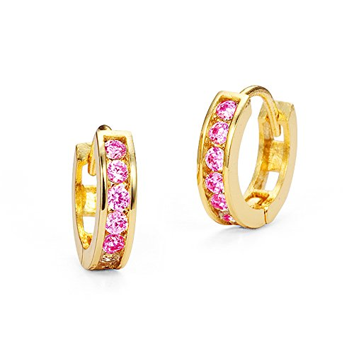 14k Gold Plated Brass Pink Channel Cubic Zirconia Huggie Baby Girls Earrings