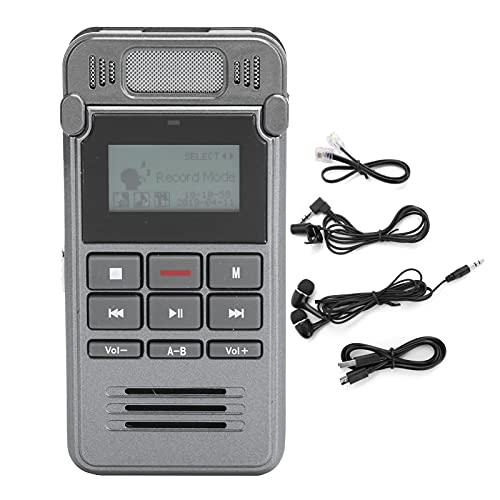 Grabadora de Voz de 8GB y Reproductores de música MP3, con Auriculares, batería de Litio incorporada de 850 mah, grabadora de Voz portátil, grabadora Digital, Gris Oscuro