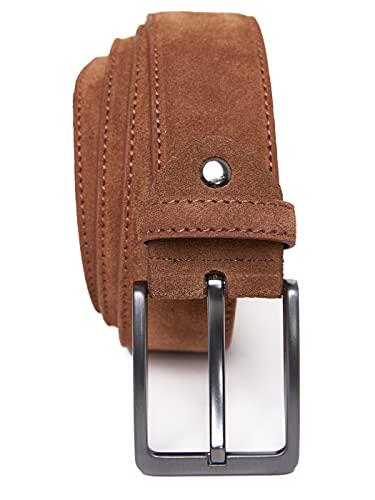 QUAMOD Cinturón Hombres Cinturón de ante 4 cm (40 mm) de ancho   Ante con caja de regalo   producción ecológica y justa   COÑAC (Large) 95 CM
