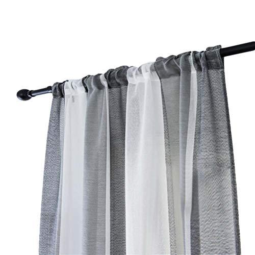 VOSAREA Gestreifte Gardinen für Badezimmer Schlafzimmer 100 x 200cm (Grau Weiß)
