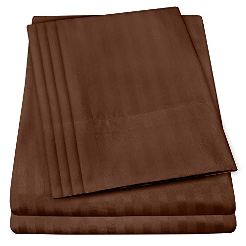 King Size Bed Sheets - 6 Piece 1500 Thread Count Fine Brushed Microfiber Deep Pocket King Sheet Set Bedding - 2 Extra Pillow Cases, Great Value, King, Dobby Coffee