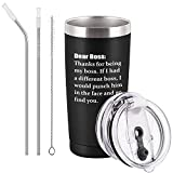 Bosses Day Gift Thank You For Being My Boss Travel Tumbler, 20 Oz Funny Stainless Steel Tumbler, Unique Christmas Birthday Boss Gift For Women Men Boss Manager Director Employer, Black