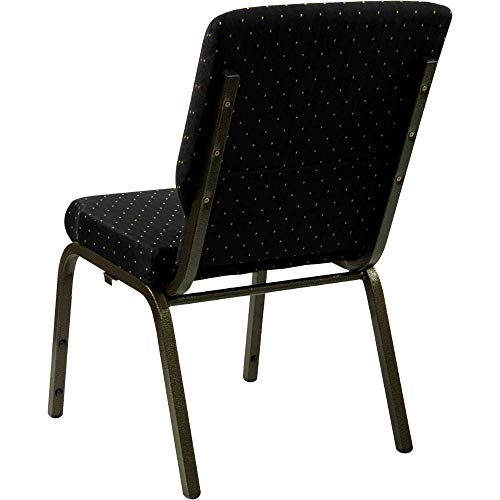 Flash Furniture HERCULES Series 18.5''W Stacking Church Chair in Black Dot Patterned Fabric - Gold Vein Frame