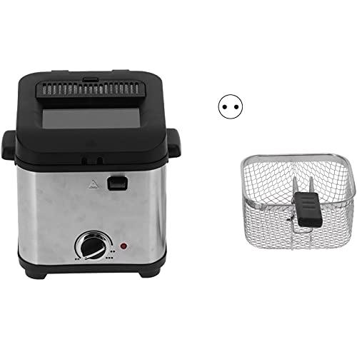 Deror Freidora eléctrica, 900W 1.5L Freidora eléctrica Mini máquina para Hacer Papas Fritas con Canasta 220-240V(EU Plug)