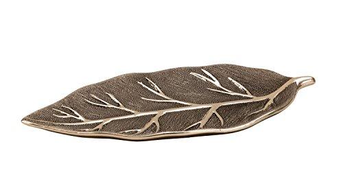 Moderne decoratieve fruitschaal in bladzilver gemaakt van keramiek 40x18 cm