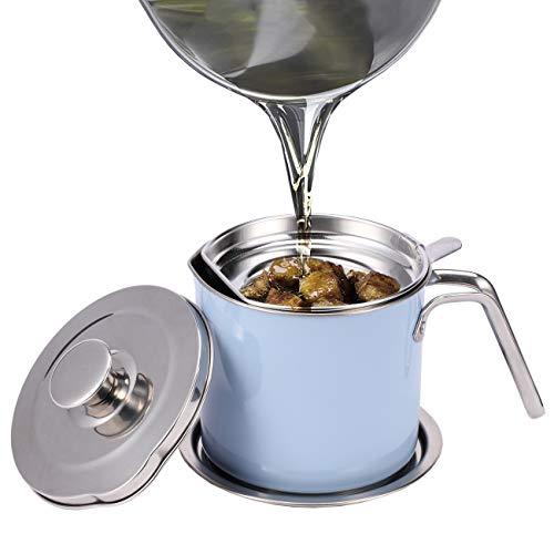 Eglaf Fettsieb aus Edelstahl, 1,3 l, Ölbehälter mit abnehmbarem Filter, staubdichter Deckel und tropfsicherer Boden, Aufbewahrungsdose für wiederverwendbares Kochen, Bratöl, Fett (blau)
