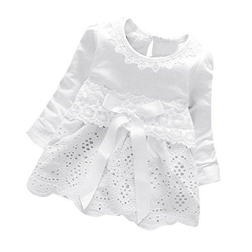 Amlaiworld Baby Blumen Hohl Spitze Prinzessin Kleider Mädchen weich Langarm Bowknot Niedlich Kleidung,0-36Monate (18 Monate, Weiß)