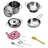 Teepao Spielküche Töpfe und Pfannen Set, Kinderküche Set mit Edelstahl Kochgeschirr Spielset Küche Pretend Spielzeug für Kinder