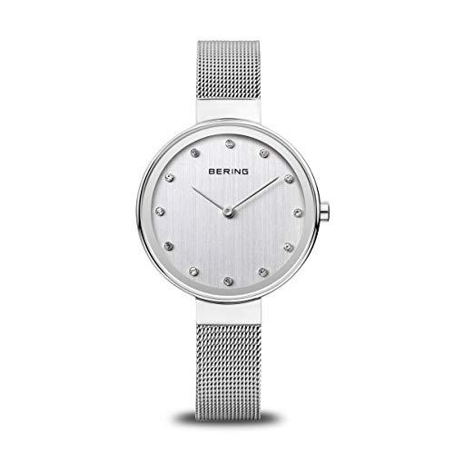 BERING Damen Analog Quarz Classic Collection Armbanduhr mit Edelstahl Armband und Saphirglas 12034-000