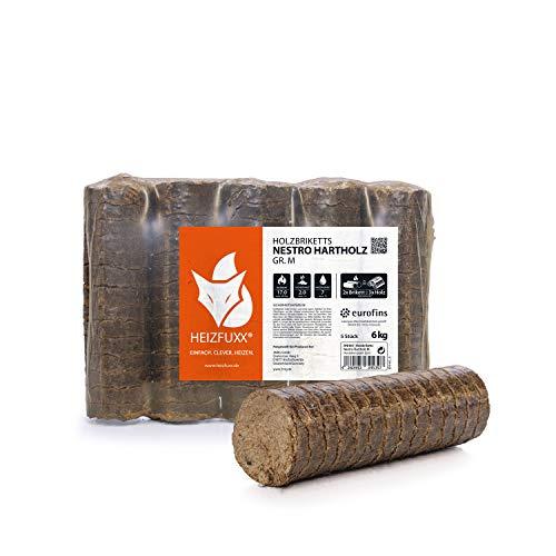 HEIZFUXX Holzbriketts Hartholz Nestro M Kamin Ofen Brenn Holz Heiz Brikett 6kg x 4 Gebinde 24kg / 1 Karton Paligo