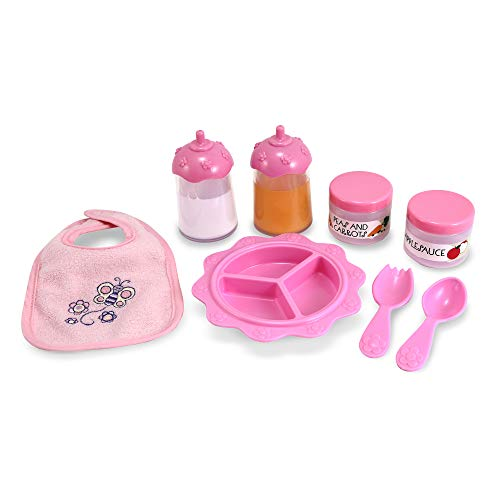 Image of Melissa & Doug Mine to Love Baby Food & Bottle Set (Doll Accessories, Easy-Close Bib, Orange Juice and Milk Bottles, 8-Piece Set, Great Gift for Girls and Boys - Best for 3, 4, 5, and 6 Year Olds)