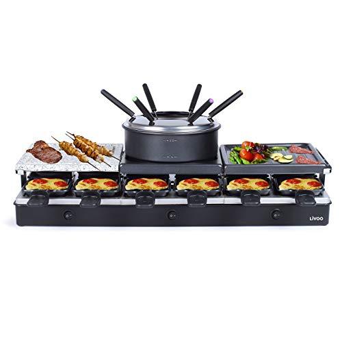 Großes Raclette Grill Set für bis zu 12 Personen - 3in1 Grillstein, Grill- und Raclette Platte mit regulierbarem Thermostat - Fondue mit Pfännchen und Holzspachtel