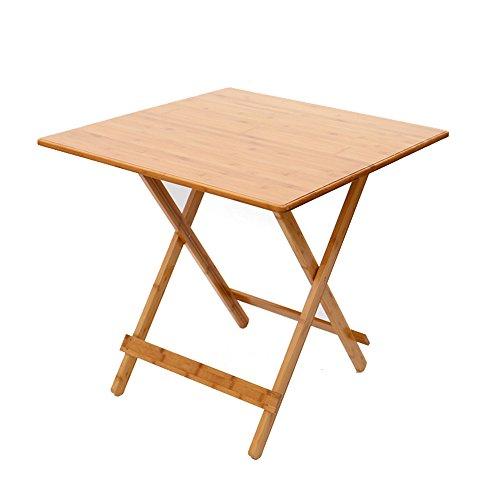 Feifei Table carrée Se Pliante, Table de Pique-Nique portative d'art de Bambou, Table de Barbecue, apprennent la Table économiser de l'espace (Taille : 60 * 60 cm)