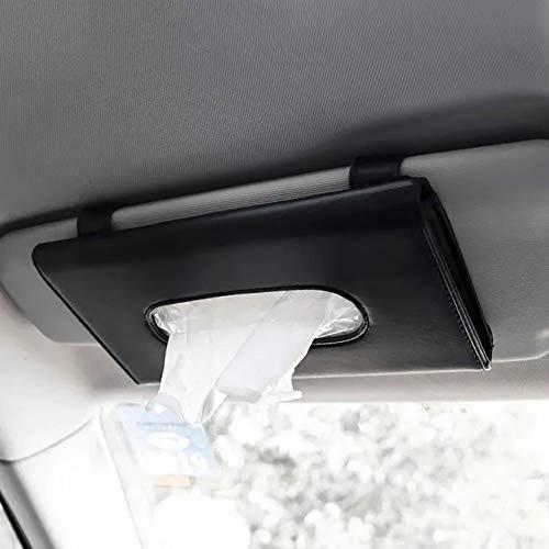 Joyindecor Visor Tissue Box Holder- PU Leather Van Truck Vehicle Car Tissues Case Dispenser for Backseat and Sun Visor, Refill Paper Included (Black)