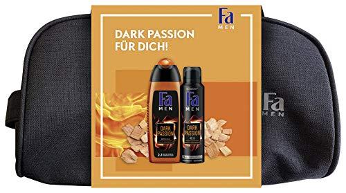 FA MEN Geschenkset Dark Passion mit 250ml Duschgel, 150ml Deospray und praktischem Kulturbeutel, 1er Pack (1 x 400 ml)