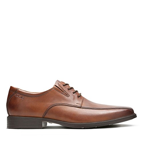 Clarks Tilden Walk, Zapatos de Cordones Derby, Marrón (Dark Tan Leather-), 43 EU