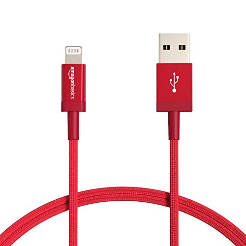 Amazon Basics - Cable Lightning a USB-A de nailon trenzado, cargador certificado por MFi, color rojo, 91,2cm