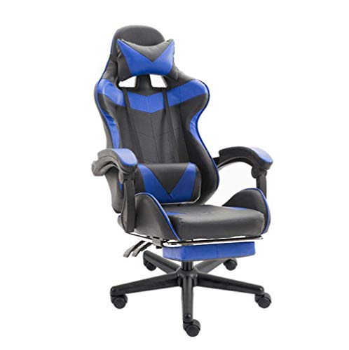 Professioneller Gaming-Stuhl mit Fußstütze – hohe Rückenlehne verstellbarer Arbeitsstuhl PU-Leder – Arbeitssessel mit Kopfstütze und Lendenkissen mit Armlehnen, Legierung, C3, Größe