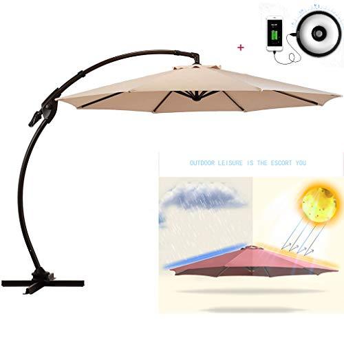 WYFDM 10 Ft Patio Sonnenschirm mit Kurbel Solarbetriebene LED-Leuchten 8 Firm UV-Schutz-Außenterrasse Strandschirm,Beige