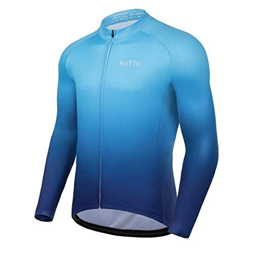 ROTTO Maillot Ciclismo Hombre Camiseta Ciclismo Manga Larga con Bolsillo Serie de degradados