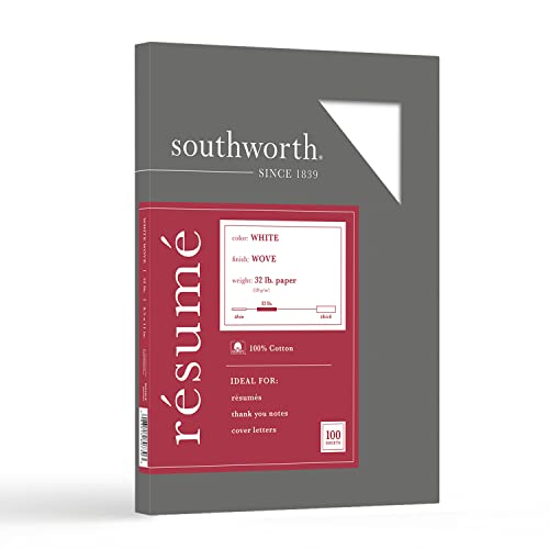 Southworth 100% Cotton Resume Paper, 8.5' x 11', 32 lb/120 GSM, White, 100 Sheets - Packaging May Vary (RD18CF)