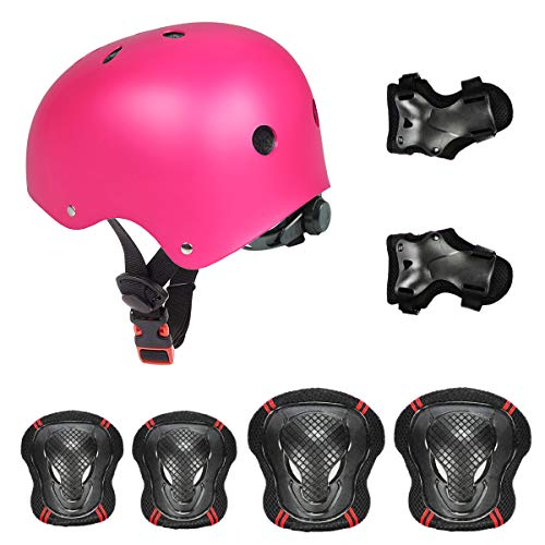 Besmall Adjustable Skateboard Skate Helmet with Protective Gear Knee Pads Elbow Pads Wrist Pads for Youth Outdoor Sports, BMX, Skateboard, Bike, Roller, Kid's Protective Gear Set Rose M
