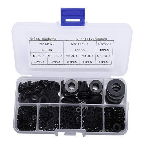 Greluma M2 M2,5 M3 M4 M5 M6 M8 M10(Insgesamt 500 Stück) Kunststoff Scheibe Nylon Unterlegscheibe Schraube Sortiment,Schwarz