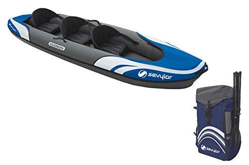 Sevylor Kayak Gonflable Hudson, Canoë Canadien 2+1 Personnes, Kayak de Mer, 374 x 89 cm