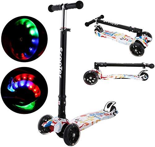 Oppikle 3 Räder Kinder Roller Scooter - Höhenverstellbarer Kinderroller Mit LED Leuchträdern Rollen Und Verstellbare Lenker Für Kleinkinder - Mädchen Oder Jungen Ab 3 Jahren (Weiß Graffiti)