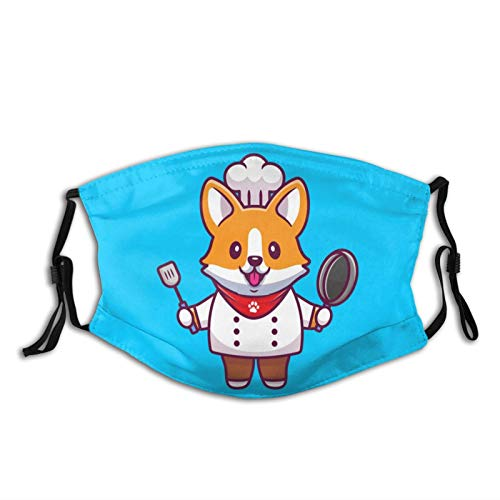 Cute Corgi Chef With Frying Pan And Spatula Face Mask Scarf, Washable Reusable Adjustable Bandana With Filters, For Adult Women & Men