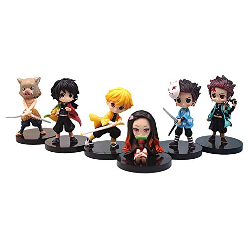 Horypt Demon Slayer Toy, Anime démon Slayer Cake Topper Toy Figures Set de 6, démon Slayer Actions Figure Statue Figurine modèle poupée Collection Cadeaux d'anniversaire