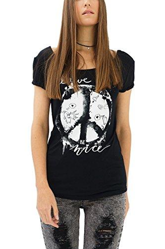 trueprodigy Casual Mujer Marca Camiseta con impresión Estampada Ropa Retro Vintage Rock Vestir Moda Cuello Redondo Manga Corta Slim Fit Designer Fashion T-Shirt, Colores:Black, Tamaño:XL