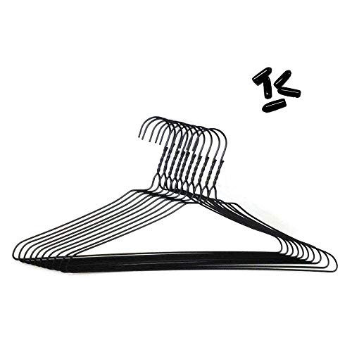 先端保護キャップ付 針金ハンガー ブラック40cm 100本組 (キャップ黒付)