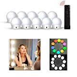 LEDGLE Hollywood Luces LED de Espejo, Tocador Maquillaje Led Kit Usb Cable, 10 Bombillas Dimmable 3 Modos De Color y 10 De Brillo con Control Remoto para Maquillaje y Espejo de Tocador