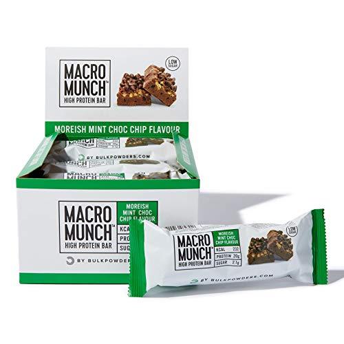 BULK POWDERS Macro Munch Protein Bar, Moreish Mint Choc Chip, 62 g, Pack of 12