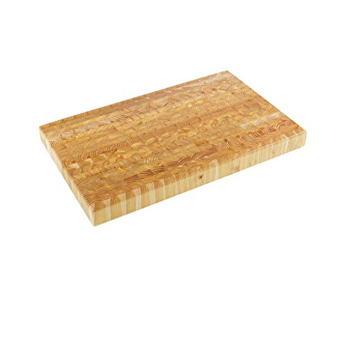"""Larch Wood Canada End Grain Large Cutting Board, Handcrafted for Professional Chefs & Home Cooking, 21-5/8"""" x 13"""" x 1-3/4"""" plus Larch Wood Beeswax and Mineral Oil Conditioner (1.6 oz/ 45g)"""