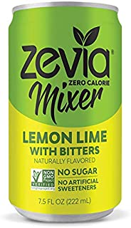 Zevia Lemon Lime With Bitters, 7.5 Oz Can (24Count) Zero Calorie or Sugar, Naturally Sweetened With Stevia Leaf Extract, a Perfect Drink Mixer