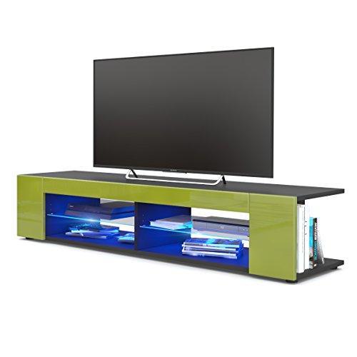 TV Board Lowboard Movie, Korpus in Schwarz matt/Fronten in Limette Hochglanz inkl. LED Beleuchtung in Blau