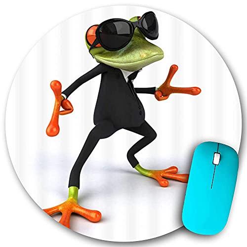 Rundes Mauspad, Cartoon-Frosch Cooler Frosch mit Sonnenbrille, rutschfeste Gummibasis Office Home-Mauspads Klein 7,9x7,9 in Gaming Mousemate