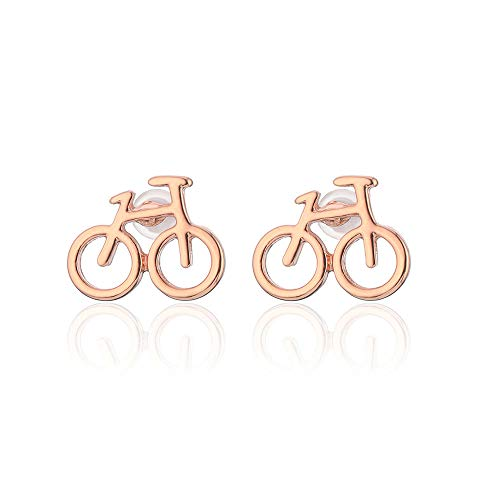 Lovely Cute Tiny Bike Bicycle Stud Earrings For Women Best Friend Gifts Ear Jewelry (ROSE GOLD)