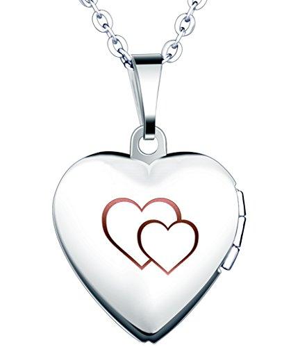 Yumilok - Cadena de Acero Inoxidable con Medallón de Corazón Que Se Abre para Poner Una Foto Adentro, en Color Plateado con Rosa o Azul, Collar y Colgante para Mujeres y Chicas