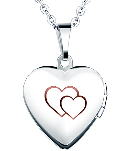 Yumilok Stainless Steel Double Hearts Engraved Pink Open Heart Photo Locket Memory Pendant Necklace for Women/Girls/Couples