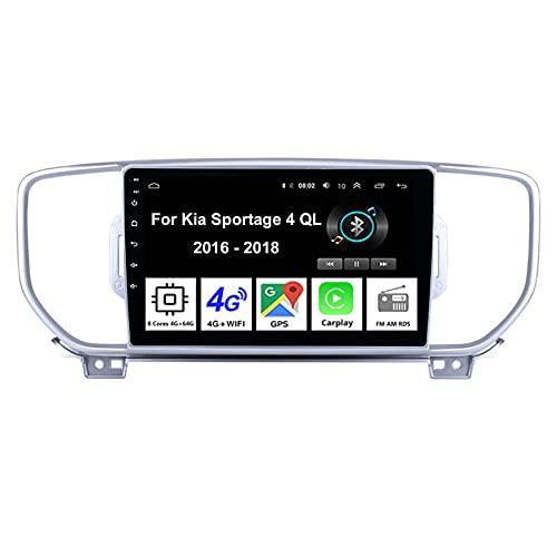 Android Autoradio Car Stereo Radio De Coche Pantalla Tactil Coche GPS Navegación Para Kia Sportage 4 QL 2016-2018 Conecta Y Reproduce Cámara De Respaldo Estéreo De Coche Audio FM/Am/RDS