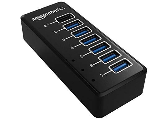 Amazon Basics - USB-Hub, USB-A 3.1 mit 7 Anschlüssen und Netzadapter - 36 W (12 V/3 A), Schwarz