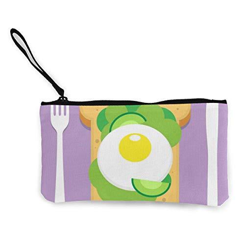 shibeili Avocado Toast mit Spiegelei Damen Leinwand Geldbörse Mini Geldbörse Make-up Tasche, Handytasche mit Griff Brieftasche Tasche Wechselbeutel