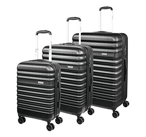 Bugatti 'Corium' Kofferset (S, M, L) - 4 Rollen Koffer Trolley - 3er Reisekoffer Set mit TSA Zahlenschloss, Schwarz